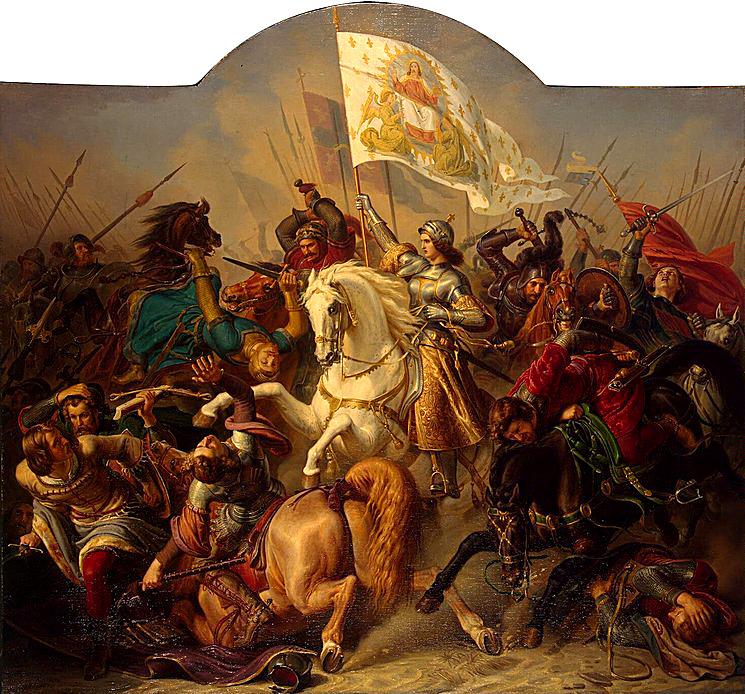 Joanna d'Arc dowodząca wojskiem wczasie bitwy. ©Wikimedia Commons.