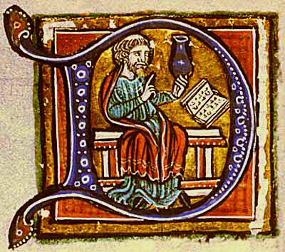 Średniowieczny medyk analizujący ludzki mocz. ©Wikimedia Commons.