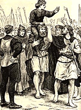 """Rycina przedstawiająca pretendenta Lamberta Simnela pokoronacji na""""króla Edwarda VI"""". ©Wikimedia Commons."""