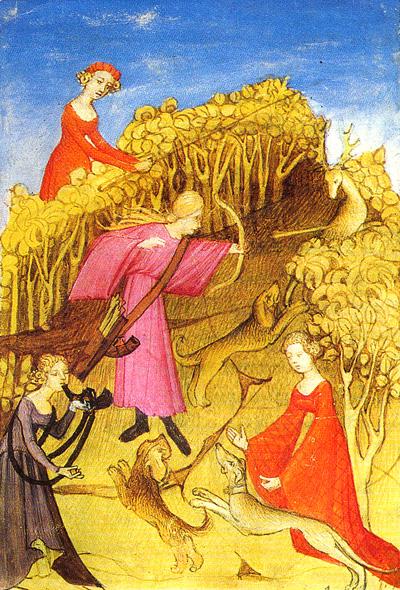 Rycina ukazująca polujące kobiety. ©Wikimedia Commons.