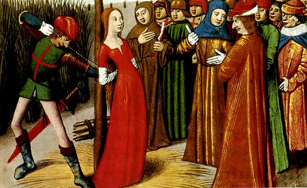 Skazana Joanna d'Arc tuż przedwykonaniem wyroku śmierci. ©Wikimedia Commons.