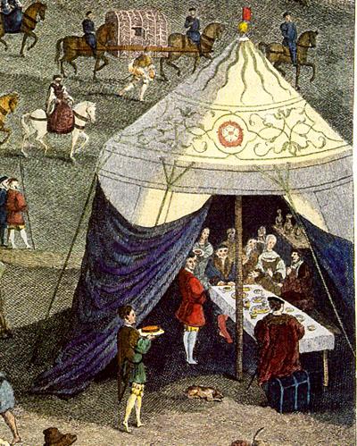 Fragment ryciny przedstawiający jeden znamiotów naPolu Złotogłowia.©Wikimedia Commons.