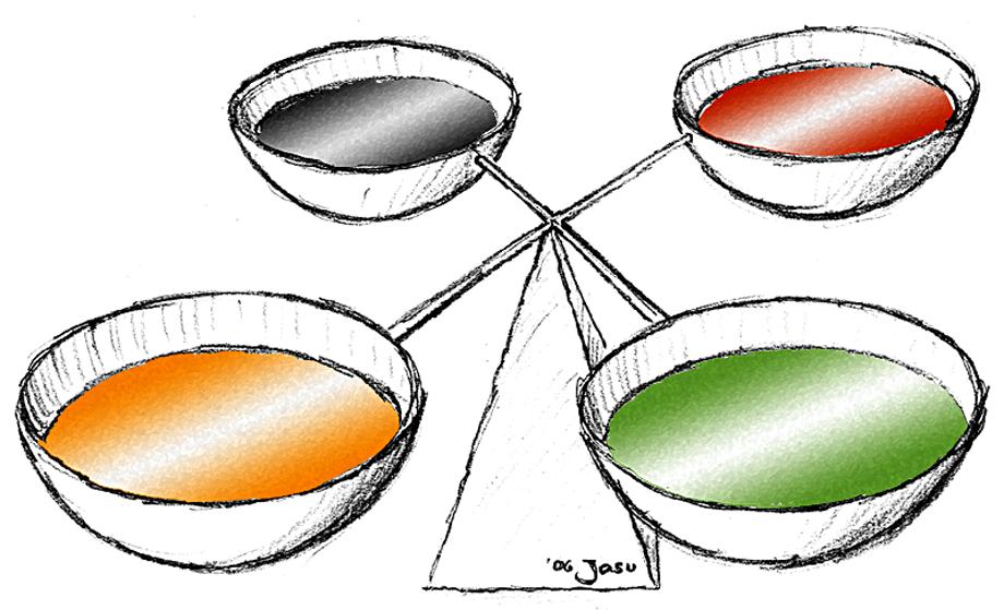Schematyczna prezentacja równowagi czterech humorów. ©Wikimedia Commons, Jakob Suckale.