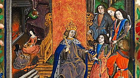 Rodzina Henryka VII pośmierci Elżbiety York (wgłębi widoczny mały książę Henryk płaczący pośmierci matki). ©Wikimedia Commons.