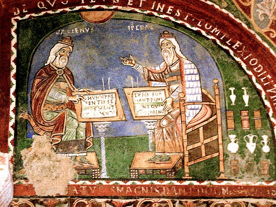 Średniowieczny fresk przedstawiający rzekome spotkanie Hipokratesa iGalena – ojców patologii humoralnej. ©Wikimedia Commons, Nina-no.