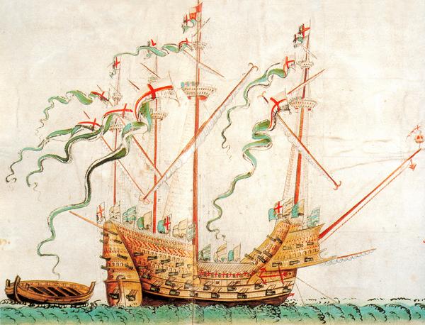 Barwna rycina przedstawiająca jeden zokrętów Henryka VIII. ©Wikimedia Commons.