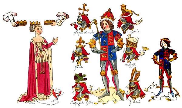 Barwna rycina przedstawiająca króla Ryszarda zmałżonką Anna isynem Edwardem. ©Wikimedia Commons.