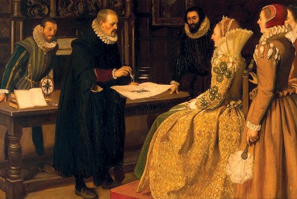 William Gilbert pokazuje magnes królowej Elżbiecie I. ©Wikimedia Commons.