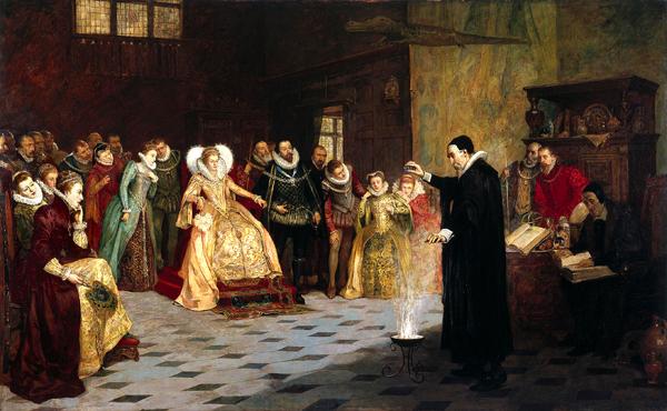John Dee przeprowadzający eksperyment przedobliczem królowej. ©Wikimedia Commons.