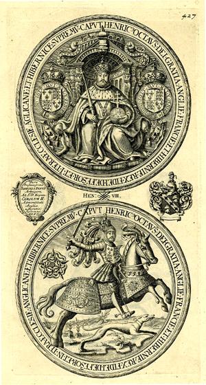 Moneta zwizerunkiem Henryka VIII natronie idosiadającego rumaka. ©Wikimedia Commons.