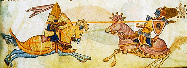 Malarskie przedstawienie pojedynku Ryszarda zSaladynem jest jedynie symboliczne, jako żeobaj władcy nigdy się niespotkali. ©Wikimedia Commons.