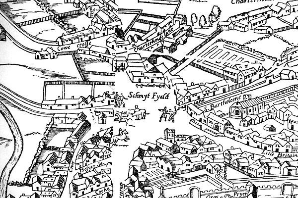 Plan Smithfield zokoło 1561 roku. ©Wikimedia Commons, Stephencdickson.