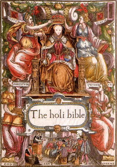 Strona tytułowa Biblii (Bishops' Bible) zwizerunkiem Elżbiety siedzącej natronie. ©Wikimedia Commons.