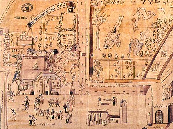 Rycina przedstawiająca Kirk o'Field powstała wkrótce pozamordowaniu Darnleya. ©Wikimedia Commons.