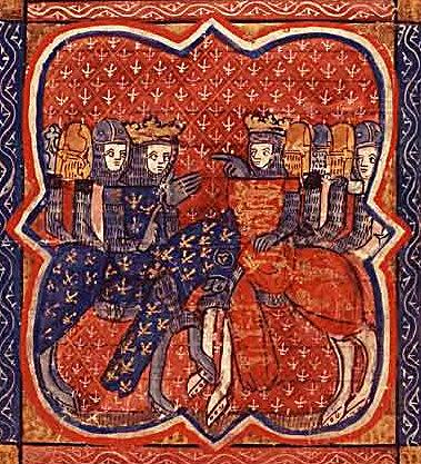 Francuska miniatura przedstawiająca Ryszarda Lwie Serce iFilipa Augusta. ©Wikimedia Commons.