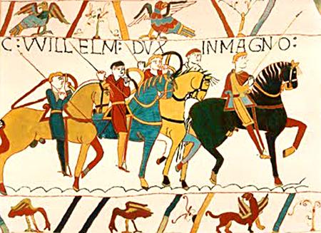 Żołnierze Wilhelma Zdobywcy wbitwie podHastings ukazani natkaninie zBayeux. ©Wikimedia Commons.
