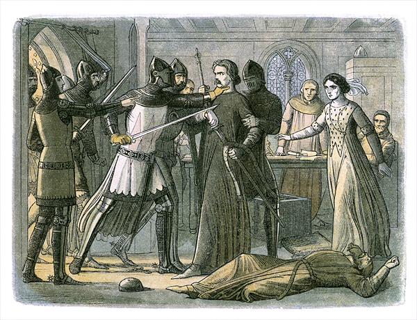 Edward III pojmuje Rogera Mortimera, znienawidzonego kochanka swojej matki, któryprzyczynił się dośmierci Edwarda II.