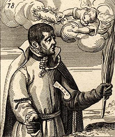 Alexander Briant, angielski jezuita imęczennik, zginął razem zEdmundem Campionem. ©Wikimedia Commons, Matthaus Greuter.