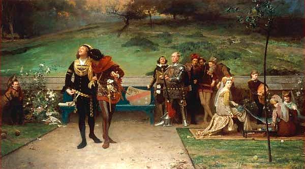 Okrutna śmierć, jaka według jednej zlegend spotkała Edwarda II miała być karą zajego skłonności homoseksualne. Nazdjęciu obraz pędzla Marcusa Stone z1872 roku, ukazujący króla ijego faworyta, Piersa Gavestona. ©Wikimedia Commons.