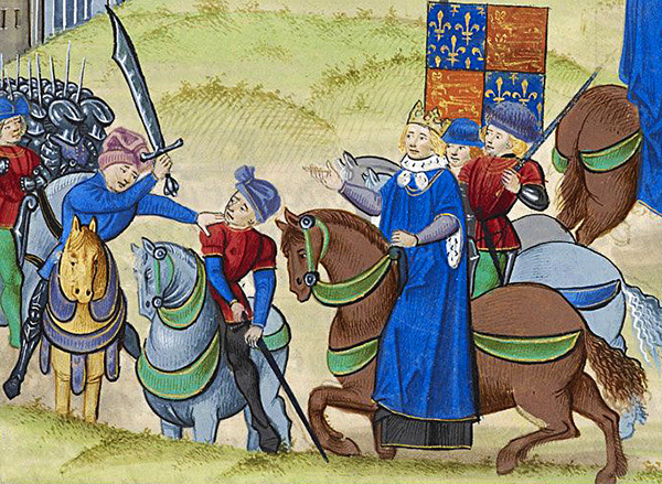 Śmierć Wata Tylera, przywódcy buntu z1381 roku, ukazana naminiaturze. ©Wikimedia Commons, Bkwillwm.