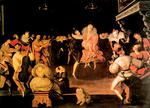 . Obraz, który– wedle jednej zpowszechnych opinii – przedstawia Roberta Dudleya iElżbietę Itańczących voltę, ulubiony taniec królowej. ©Wikimedia Commons.