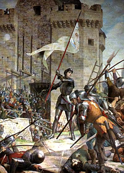 Joanna d'Arc podoblężonym Orleanem. ©Wikimedia Commons, Jules Eugene Lenepveu.