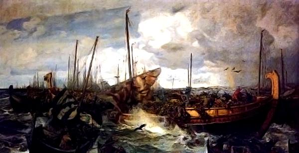 Bitwa morska podSvolder, pędzla Otto Sindinga. ©Wikimedia Commons.