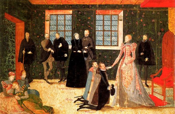 Podczas każdej audiencji Elżbieta stała, akażdy, kto się doniej zwracał, musiał przyklęknąć. ©Wikimedia Commons.