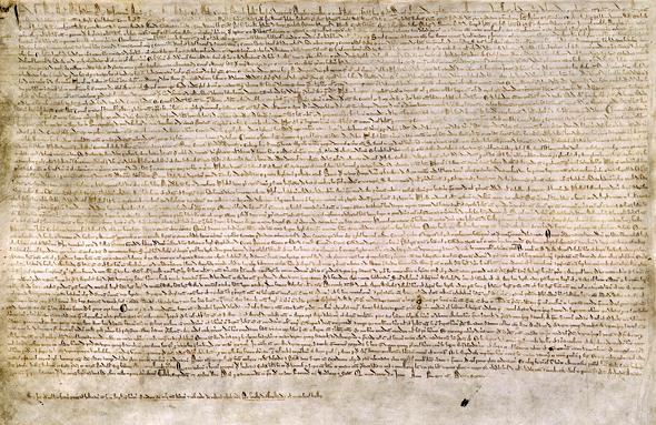 Wielka Karta Swobód – skan jednego zcertyfikowanych egzemplarzy zroku 1215. ©Wikimedia Commons.