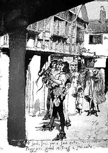 Mieszkańcy proszący odatki iciastka, wzamian zaktóre ofiarowywali swoje modlitwy wintencji zmarłych. ©Wikimedia Commons.