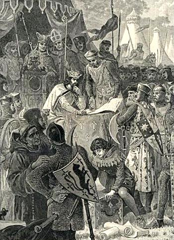 Król Jan podpisuje Wielką Kartę Swobód. ©Wikimedia Commons, PD-ART.