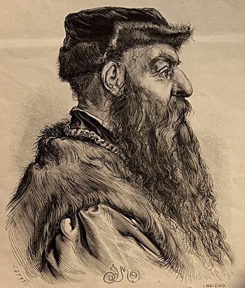 Olbracht Łaski odwiedził Anglię w1583 roku iusilnie namawiał Edwarda Kelleya iJohna Dee doprzyjazdu doPolski. ©Wikimedia Commons.