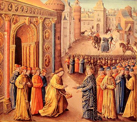 Rajmund zPoitiers wita wAntiochii Ludwika VII, któryprzybył tam zeswoją żoną abratanicą Rajmunda, Eleonorą Akwitańską. ©Wikimedia Commons.