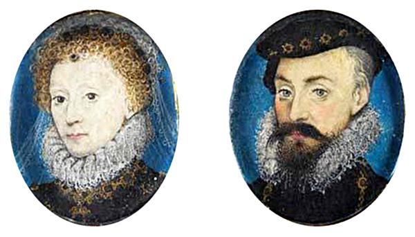 Miniatury przedstawiające królową Elżbietę iRoberta Dudleya. ©Wikimedia Commons.