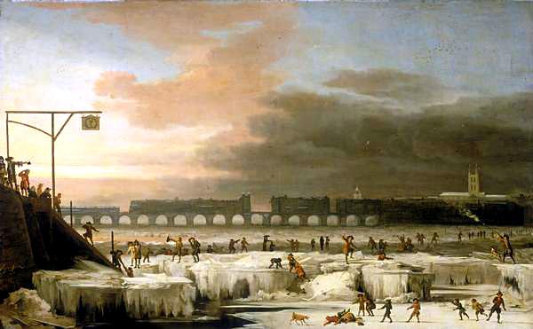 Zamarznięta Tamiza wczasie małej epoki lodowej, 1677 rok. ©Wikimedia Commons.