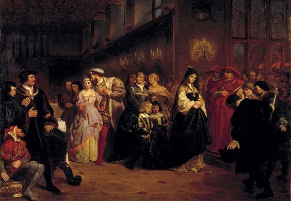 Henryk VIII, pragnąc zapewnić królestwu męskiego następcę tronu, niezawahał się oddalić odsiebie legalnej małżonki iożenić się ponownie. ©Wikimedia Commons.