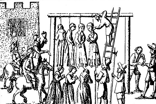Sąd karze śmiercią kobiety oskarżone oczary, Anglia 1655. ©Wikimedia Commons.