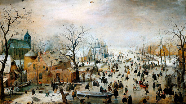 Zimowy krajobraz złyżwiarzami, Hendrick Avercamp, ok. 1608. ©Wikimedia Commons.