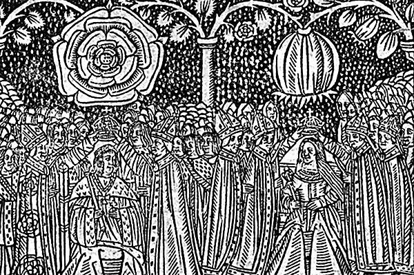 XVI-wieczny drzeworyt ukazujący koronację Henryka VIII ijego pierwszej małżonki, Katarzyny Aragońskiej, wdowy pojego bracie Arturze. ©Wikimedia Commons.