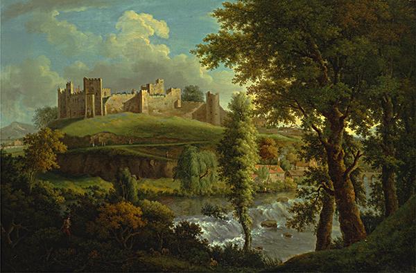 Barwna rycina przedstawiająca zamek Ludlow, wktórymmłodzi małżonkowie spędzili kilka miesięcy igdzie umarł książę Artur. ©Wikimedia Commons.