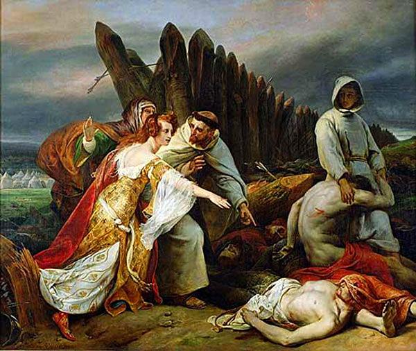Edyta oŁabędziej Szyi odnajduje ciało Harolda napolu bitwy podHastings. ©Wikimedia Commons.