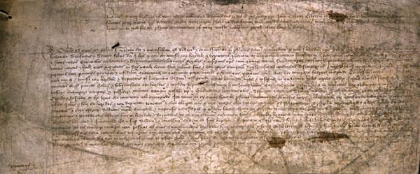 List patentowy dla Cabota wydany przezkróla Henryka VII, zezwalający mu naodkrywanie nowych lądów. ©Wikimedia Commons.