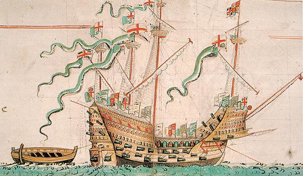 """""""Mary Rose"""" – flagowy okręt floty wojennej Henryka VIII. ©Wikimedia Commons, Gerry Bye."""