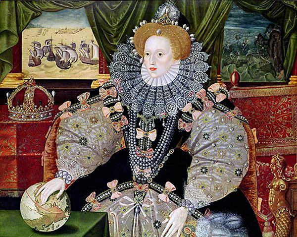 Jeden znajbardziej znanych wizerunków królowej Elżbiety – Portret zArmadą. ©Wikimedia Commons, www.luminarium.org.