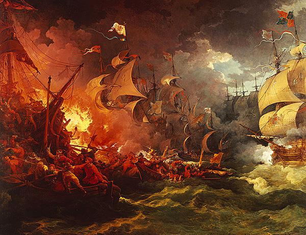 Zniszczenie hiszpańskiej Wielkiej Armady, sierpień 1588 roku. ©Wikimedia Commons.