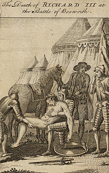 XVIII-wieczna rycina ukazująca śmierć Ryszarda III podBosworth. ©Wikimedia Commons.