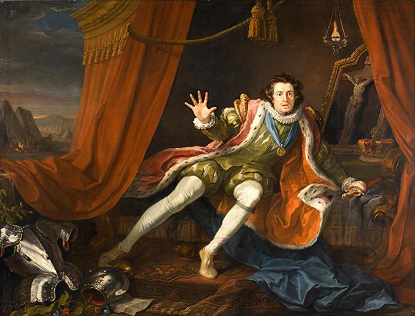Aktor David Garrick jako Ryszard III tuż przedbitwą podBosworth. Podobno wnocy poprzedzającą starcie Ryszarda męczyły koszmary mające zwiastować jego rychłą porażkę. ©Wikimedia Commons.