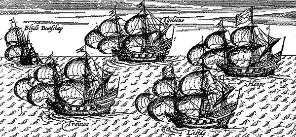 2. XVII-wieczna rycina ukazująca flotyllę Williama Adamsa zmierzającą doJaponii. ©Wikimedia Commons, domena publiczna.