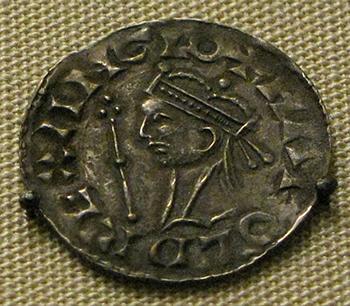 Harold Godwinson ukazany nasrebrnej monecie. ©Wikimedia Commons.