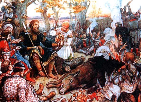 Włodzimierz II Monomach, wielki książę litewski, odpoczywający napolowaniu. ©Wikimedia Commons, domena publiczna.